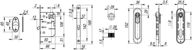 Набор для раздвижных дверей SH011-BK СP-8 Хром