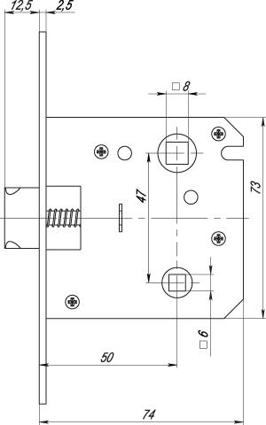 Защелка межкомнатная врезная в комплекте с ручкой SET F3013 SN/CP