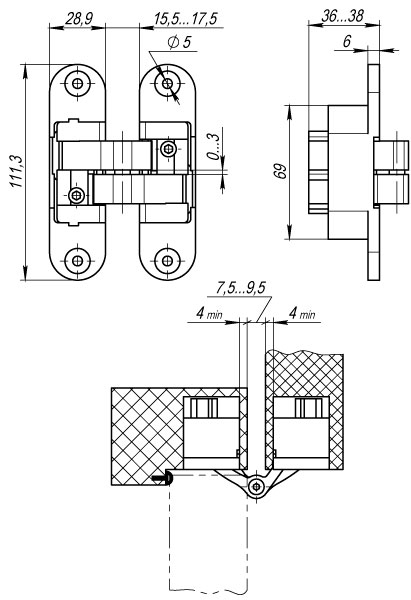 Петля скрытой установки с 3D-регулировкой Architect 3D-ACH 60 SC Матовый хром лев. 60 кг
