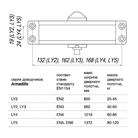 Доводчик дверной морозостойкий LY2 65 кг бронза