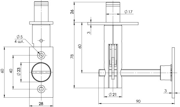 Задвижка торцевая TDB 860-24 CP хром 60мм 8шт./упак.