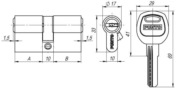 Цилиндровый механизм A200/70 mm (30+10+30) SN мат. никель 5 кл.