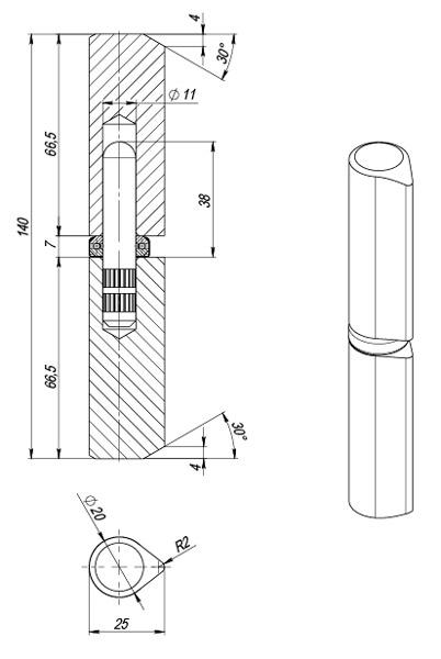 Петля приварная T1/141-20 с подшипником