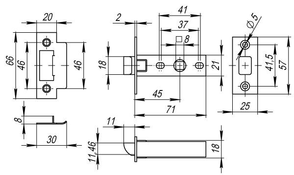 Защелка врезная PLASTIC P12-45-25 AC медь