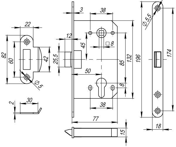 Корпус замка PLASTIC P85C-50 CP хром