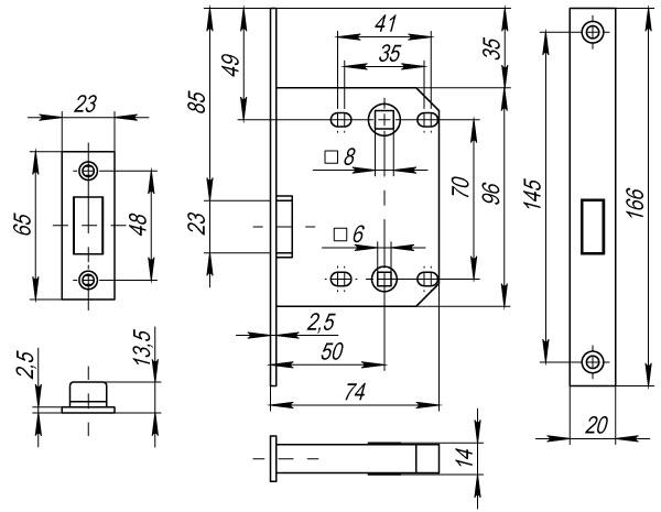 Защелка врезная MAGNET M72-50 CP хром