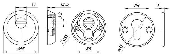 Накладка Z5513 PN МАТОВЫЙ НИКЕЛЬ тех упаковка, винт M5x90