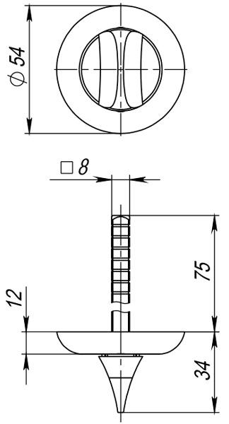 Ручка поворотная HMR8x75 CP