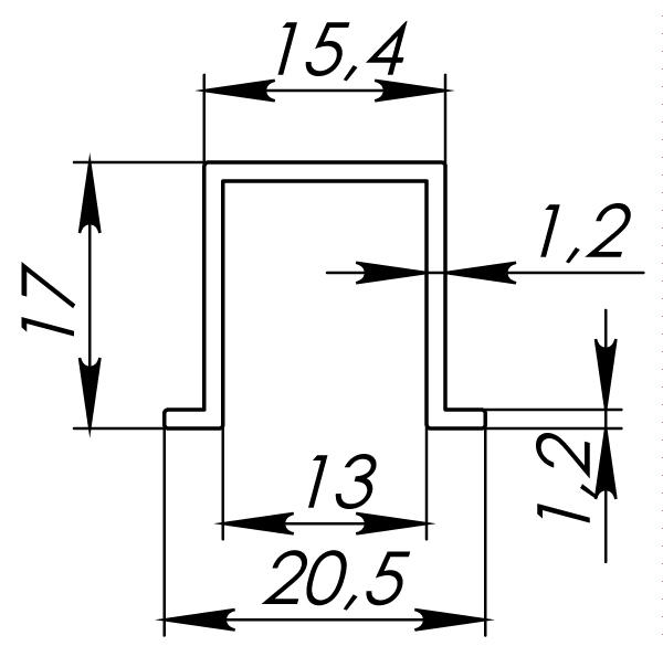 Нижняя направляющая DIY Comfort 60/80/1,2/1500 bottom track 1,5 мCFG-778