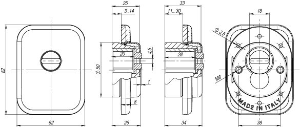 Броненакладка на ЦМ квадрат  от вырывания, 25 мм ET/ATC-Protector 1-25SQ SN-3 Мат.никель box