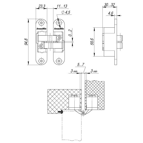 Петля скрытой установки с 3D-регулировкой Architect 3D-ACH 40 BL Черный лев.40 кг