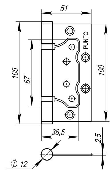 Петля универсальная без врезки 200-2B 100x2,5 PN мат. никель