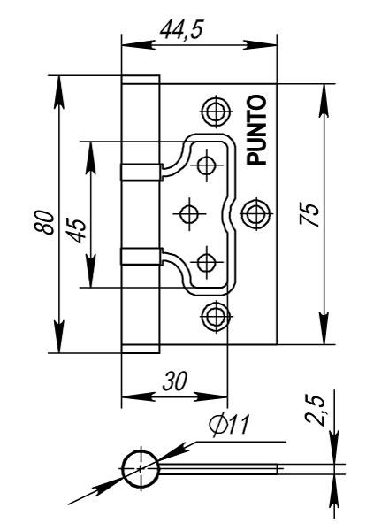 Петля универсальная без врезки 200-2B 75x2,5 SC мат. хром