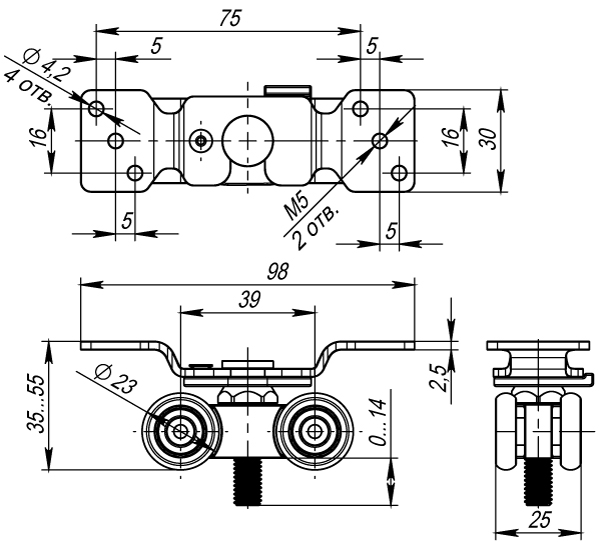 Комплект роликов для раздвижных дверей DIY Comfort 60/4 kit 877