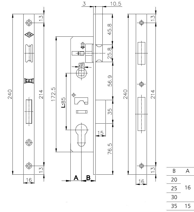 Корпус замка врезного цилиндрового узкопроф.153/P 35 mm w/b никель
