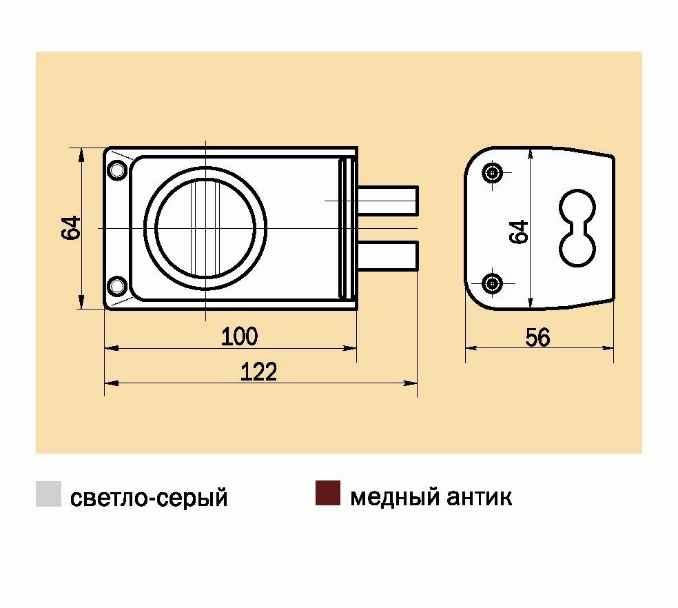 Замок накладной ЗНД-1A /88400/