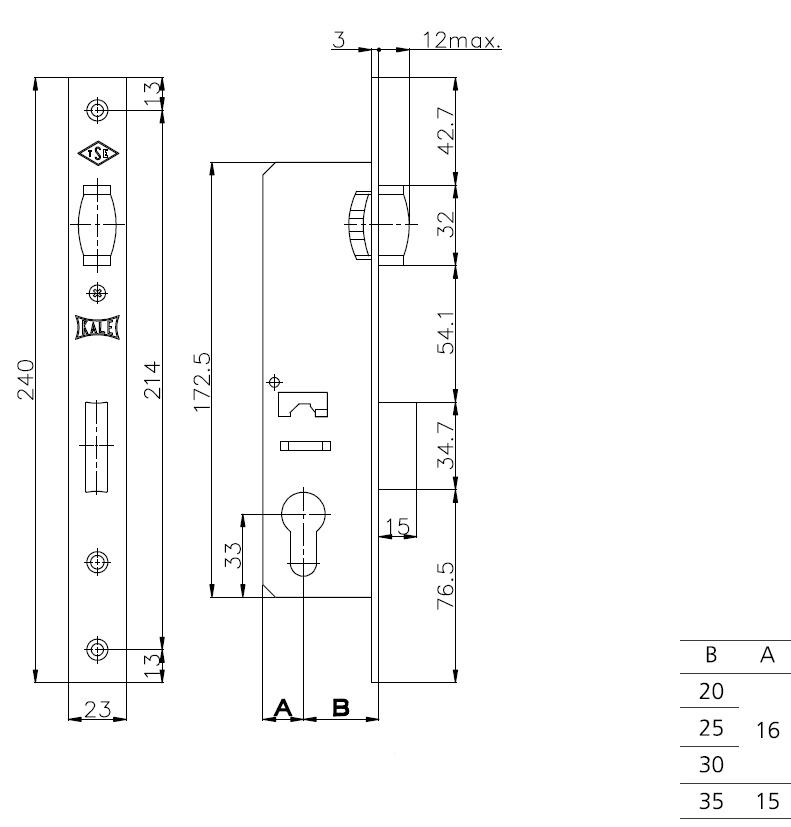 Корпус замка врезного цилиндрового узкопроф.155 20 mm w/b никель