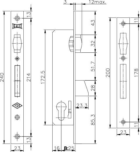 Корпус замка врезного цилиндрового узкопроф.255 25 mm w/b никель