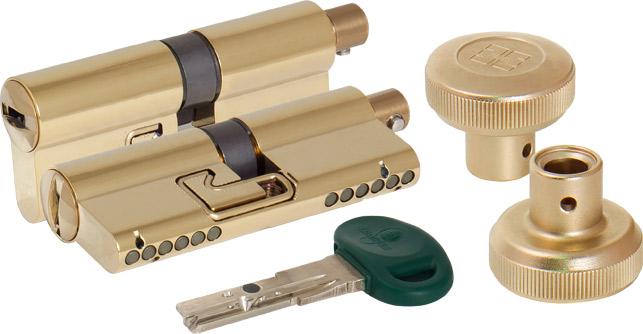 Цилиндровый механизм с вертушкой C31F464601RTC5 92 мм/41+10+41, ЛАТУНЬ PVD верт. 99.506